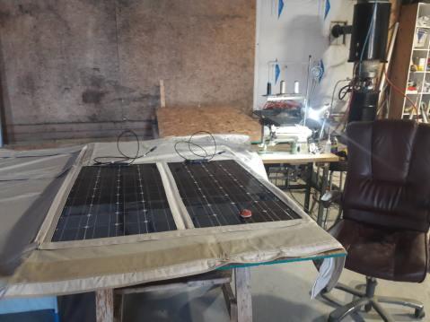making fitting for solar panels on bimini top
