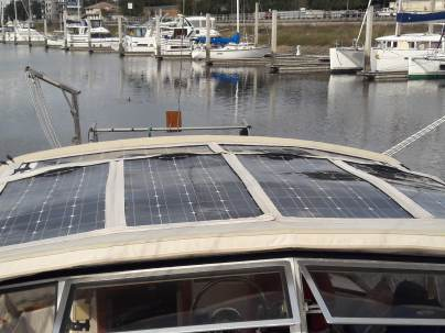 How the solar looks atop the bimini